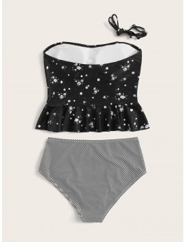 Ditsy Floral Ruffle Trim Top With Striped High Waist Tankini
