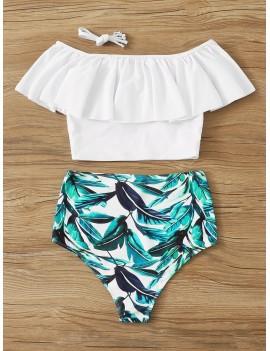 Flounce Bardot Top With Random Leaf Print Bikini