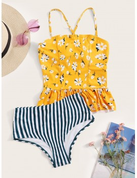 Floral Ruffle Hem Top With Striped Tankini Set