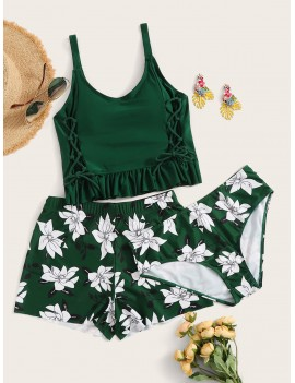 Lace Up Frill Hem Top With Floral 3piece Swimwear