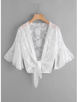 Bell Sleeve Sheer Mesh Beach Kimono