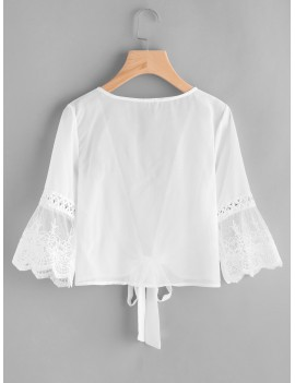 Contrast Lace Fluted Sleeve Self Tie Chiffon Kimono