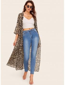 Drop Shoulder Leopard Kimono