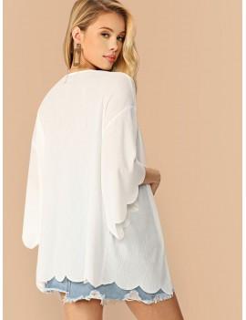 Drop Shoulder Scallop Edge Rib-knit Kimono