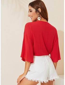 Drop Shoulder Plunging Neck Tie Front Kimono