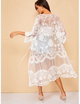 Floral Pattern Sheer Kimono