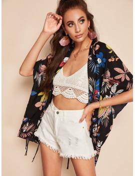 Open Front Botanical Tassel Hem Kimono