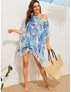 Jungle Leaf Print Tassel Trim Cover Up