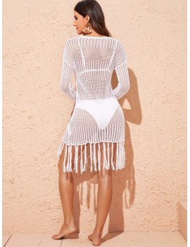 Drop Shoulder Fringe Hem Crochet Cover Up