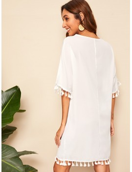 Lace-up Neck Tassel Detail Cover Up