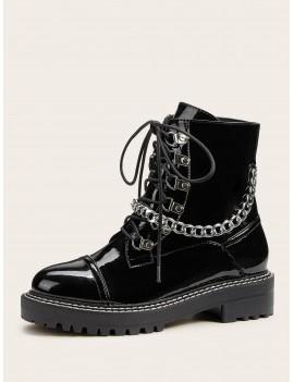 Chain Detail Lug Sole Combat Boots