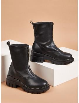 Zipper Front Lug Sole Boots