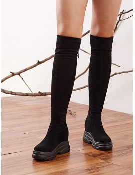Back Tie Chunky Sole Knee High Boots