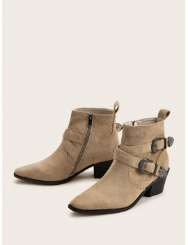 Double Buckle Decor Side Zip Ankle Boots
