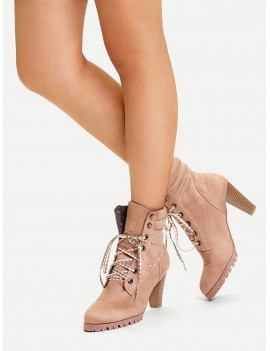 Gingham Lace Up Chunky Boots