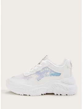 Contrast Sequins Decor Chunky Sole Trainers