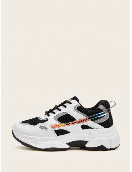 Contrast Lace-up Front Chunky Sole Trainers
