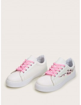 Floral Embroidered Low Top Sneakers
