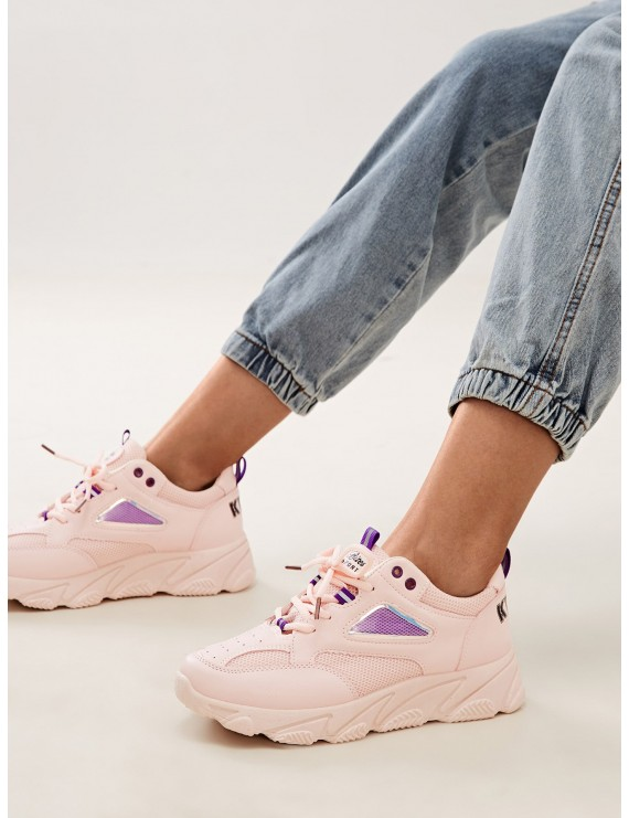Lace-up Front Chunky Sole Mesh Trainers