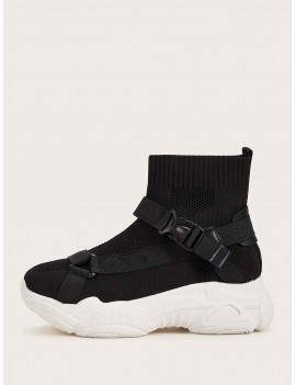 Buckle Front Mesh Chunky Sneakers