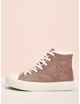 Faux Fur Lined Lace Up Sneakers