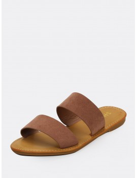 Dual Bands Open Toe Flat Slide Sandals