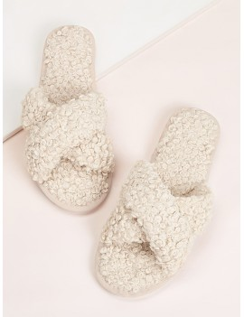 Cross Strap Fluffy Slippers