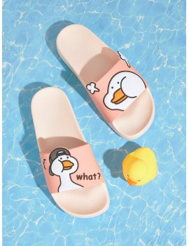Cartoon Print Open Toe Sliders