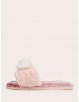 Contrast Pom Pom Faux Fur Slippers