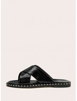 Cross Strap Flat Sliders