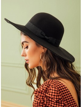 Bow Knot Decor Floppy Hat
