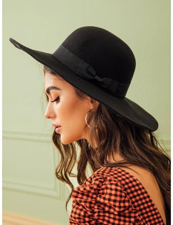 Bow Knot Decor Floppy Hat