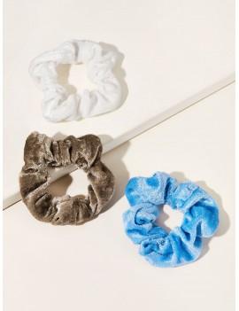 3pcs Solid Velvet Scrunchie Set