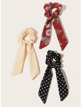 3pcs Polka Dot & Floral Pattern Scrunchie Scarf