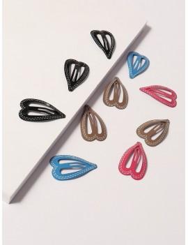 10pcs Heart Design Hair Snap Clip