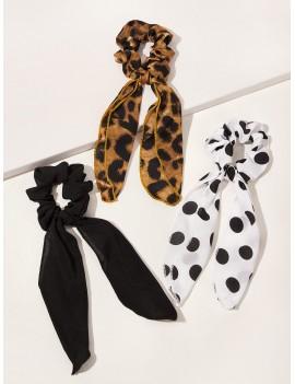 3pcs Polka Dot & Leopard Pattern Scrunchie Scarf