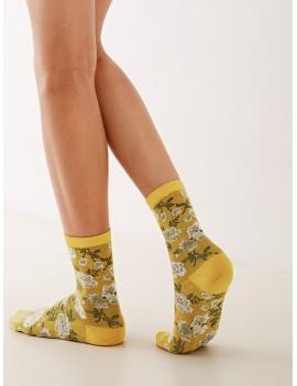 1pair Flower Pattern Socks