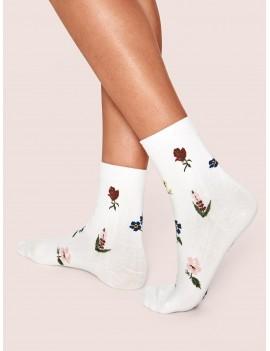 1pair Floral Graphic Socks