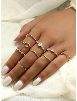 Heart & Rhinestone Engraved Ring 9pcs