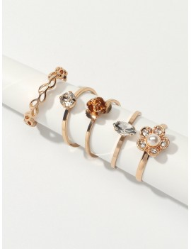 5pcs Flower Rhinestone Ring Set
