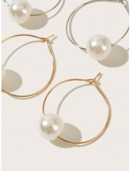 2pairs Faux Pearl Clip On Hoop Earrings
