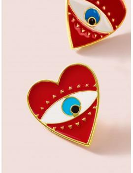 1pair Eye Engraved Heart Stud Earrings