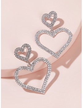 1pair Rhinestone Double Heart Dangle Earrings