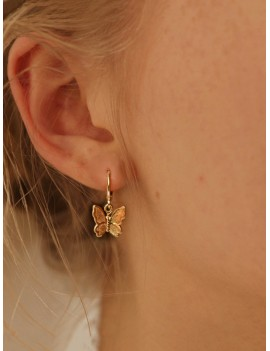 Round Decor Butterfly Drop Earrings 1pair