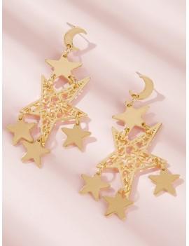 1pair Moon & Multi Star Dangle Earrings