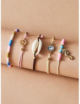 5pcs Seahorse & Shell Decor Bracelet