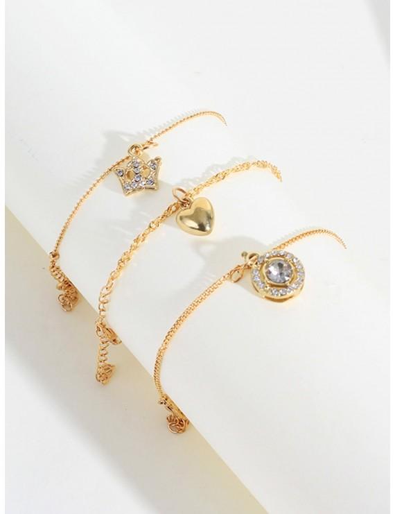 Heart & Rhinestone Engraved Round Decor Chain Bracelet 3pcs