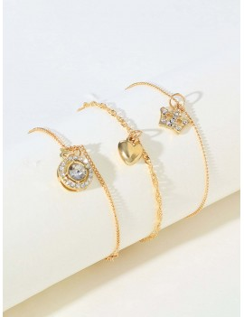 Heart & Rhinestone Engraved Round Decor Chain Bracelet 3pcs
