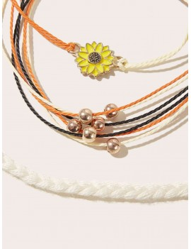 3pcs Sunflower Decor Braided Bracelet Set