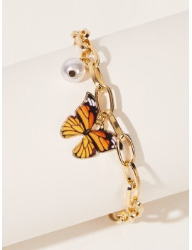 Butterfly & Faux Pearl Decor Bracelet
